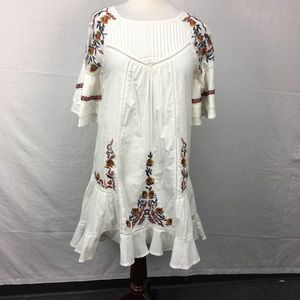 Free People White Floral Embroidered Ruffle Dress